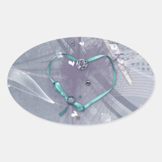 Adesivo Oval A fita do coração do Aqua, diploma, jóias, seja a