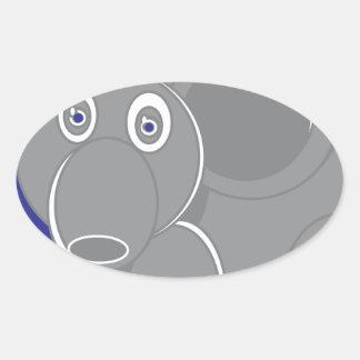 Adesivo Oval A forma fez o elefante