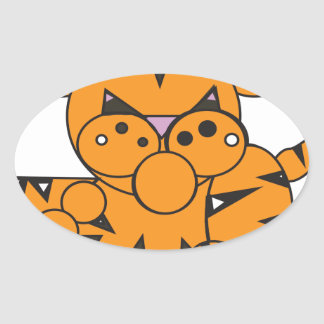 Adesivo Oval A forma fez o tigre
