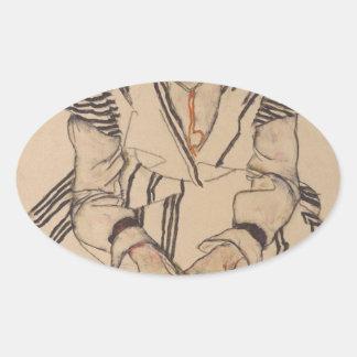 Adesivo Oval A irmã do artista de Egon Schiele- na lei