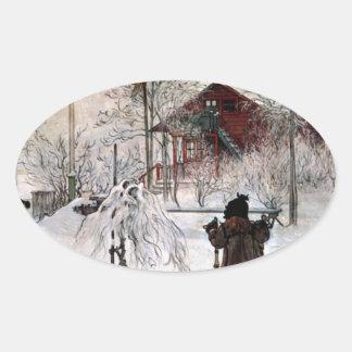 Adesivo Oval A jarda e o Lavagem-House, Carl Larsson