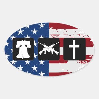 Adesivo Oval A liberdade atira no Oval da religião