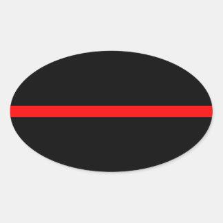 Adesivo Oval A linha vermelha fina simbólica decoração em a