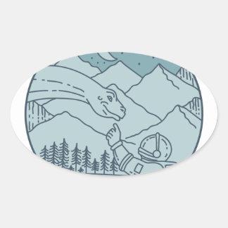 Adesivo Oval A lua do Brontosaurus do astronauta Stars o