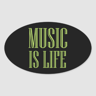 """Adesivo Oval A """"música é preto e verde da vida"""""""
