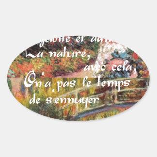 Adesivo Oval A natureza no art. de Monet