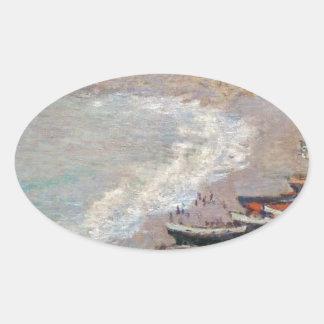 Adesivo Oval A praia em Etretat - Claude Monet