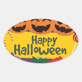 Adesivo Oval Abóbora feliz do Dia das Bruxas