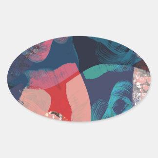 Adesivo Oval Abstrato marmoreado