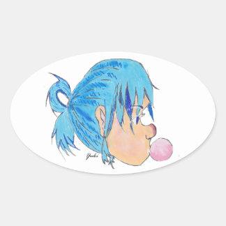 Adesivo Oval Adolescente fundindo uma bolha com goma