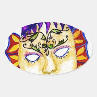 Adesivo Oval Aguarela 2 da máscara do carnaval
