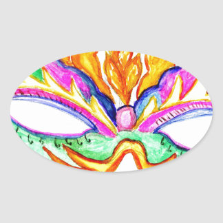 Adesivo Oval Aguarela da máscara do carnaval