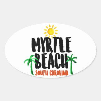 Adesivo Oval Aguarela de Myrtle Beach
