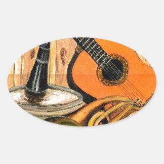 Adesivo Oval Ainda vida com instrumentos musicais