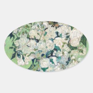 Adesivo Oval Ainda vida: Vaso com rosas - Vincent van Gogh