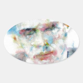 Adesivo Oval ALDOUS HUXLEY - retrato .4 da aguarela