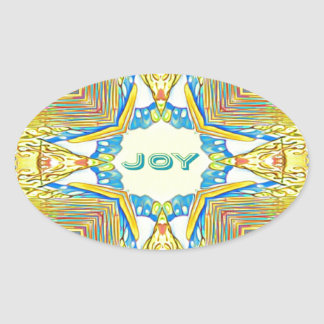 "Adesivo Oval ""ALEGRIA inspirada festiva vibrante"" rara"