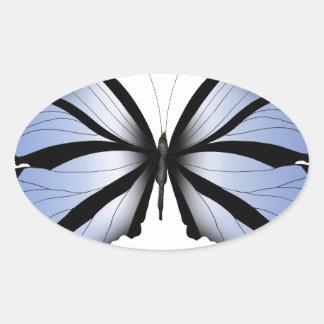 Adesivo Oval Aleta azul gigante da borboleta 5 azuis