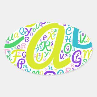 Adesivo Oval alfabeto do amor