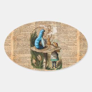 Adesivo Oval Alice, cogumelo e Jin, arte do dicionário do