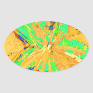 Adesivo Oval Amarelo ácido da lavagem de Santa Fé
