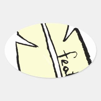 Adesivo Oval amarelo da pena