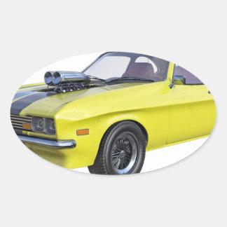 Adesivo Oval Amarelo do carro de 1970 músculos com listra preta