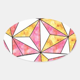 Adesivo Oval amarelo-Geo-coração-design