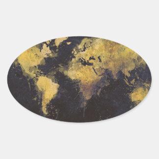 Adesivo Oval amarelo preto do mapa do mundo