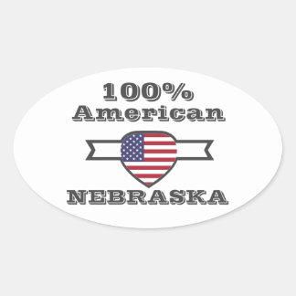 Adesivo Oval Americano de 100%, Nebraska