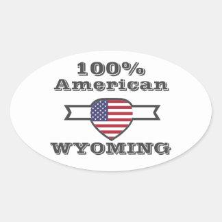 Adesivo Oval Americano de 100%, Wyoming