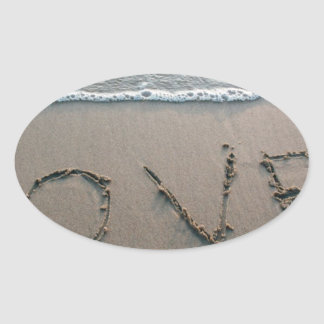 Adesivo Oval Amor na areia