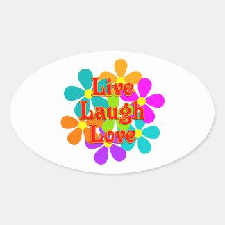 Adesivo Oval Amor vivo do riso do divertimento