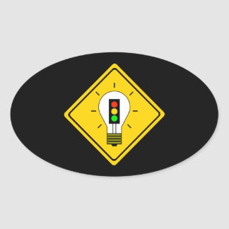 Adesivo Oval Ampola do sinal de trânsito adiante
