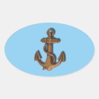 Adesivo Oval Âncora de cobre em azuis bebés