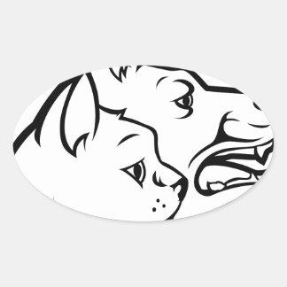 Adesivo Oval Animais de estimação gato e ícone das caras do cão