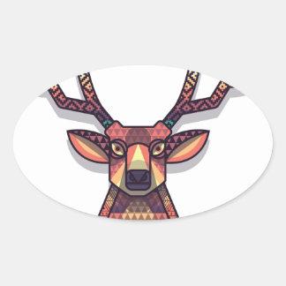 Adesivo Oval animal dos cervos com chifres