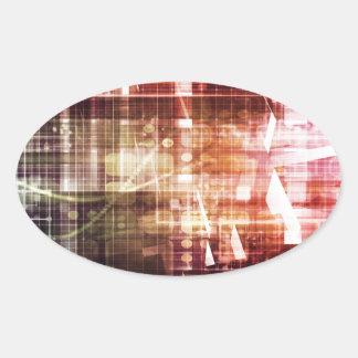 Adesivo Oval Aparência de Digitas com arte de transferência da
