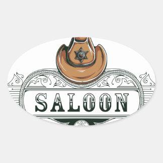 Adesivo Oval armas do vaqueiro do vintage do bar
