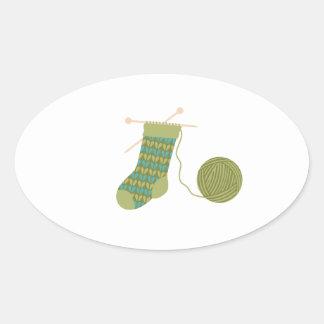 Adesivo Oval Armazenando o fio para confecção de malhas