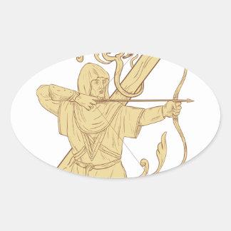 Adesivo Oval Arqueiro medieval que aponta o desenhar da letra Z