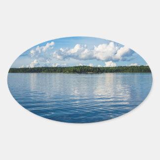 Adesivo Oval Arquipélago na costa de mar Báltico na suecia