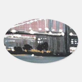 Adesivo Oval Arquitectura da cidade escura