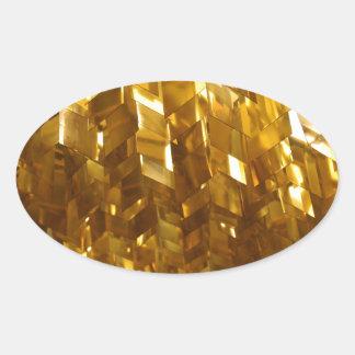 Adesivo Oval Arte abstracta do teto do ouro