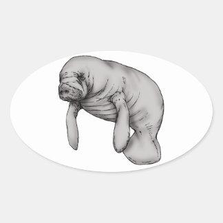 Adesivo Oval arte do peixe-boi