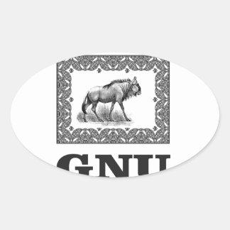 Adesivo Oval Arte do poder do Gnu