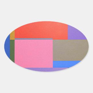 Adesivo Oval Arte moderna/Mondrian