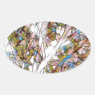 Adesivo Oval Árvore bonito do vitral Photomanipulatio da vida