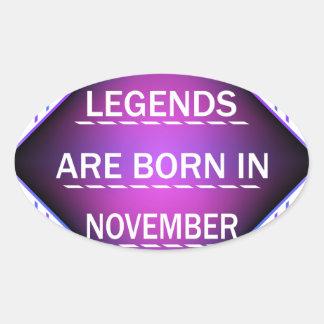 Adesivo Oval As legendas são nascidas em novembro