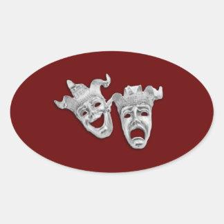 Adesivo Oval As máscaras do teatro projetam o marrom